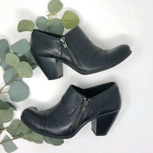 BOC By Born Black Leather Ankle BOOTS BOOTIES 6